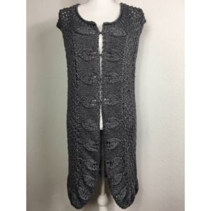 Chico's 2/L  Silver Gray Crochet Sleeveless Duster